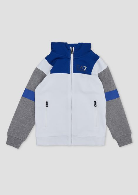 Boys' colour-block sweatshirt with hood