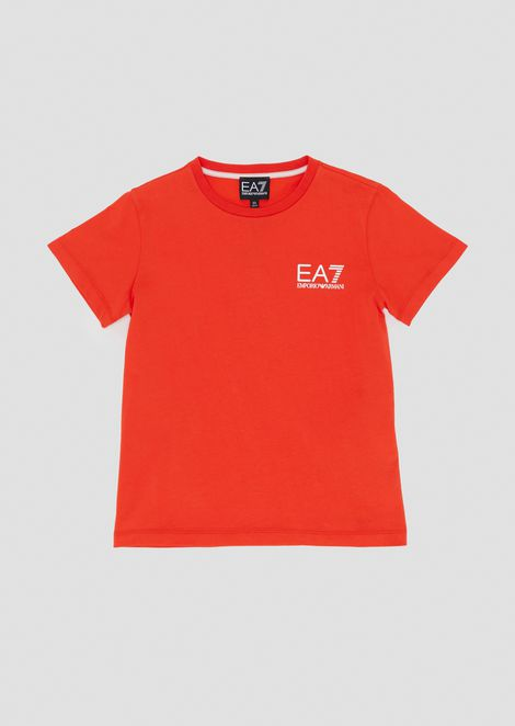 Pure cotton boys' T-shirt with EA7 print