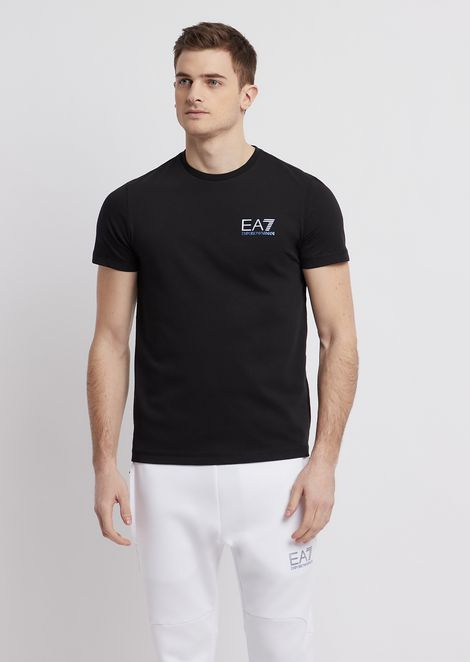 Stretch cotton jersey T-shirt with EA7 logo