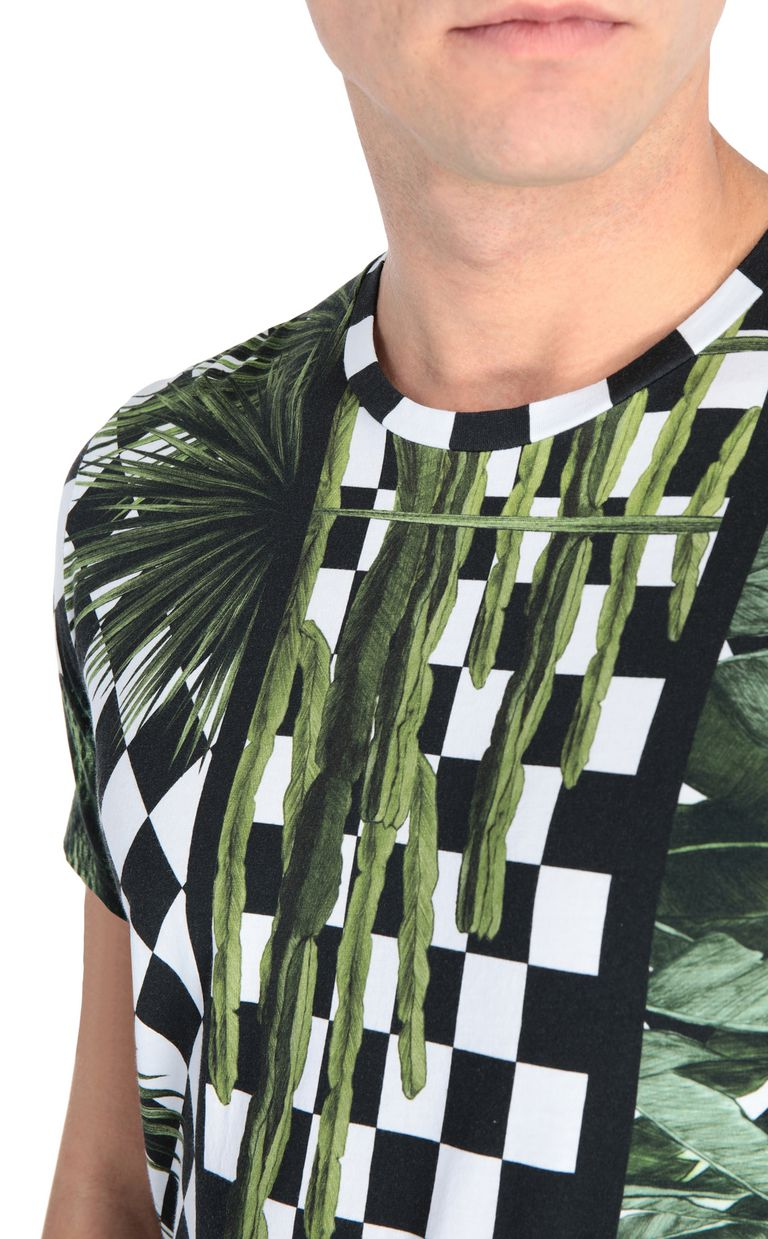 JUST CAVALLI T-shirt with garden-check print Short sleeve t-shirt Man e