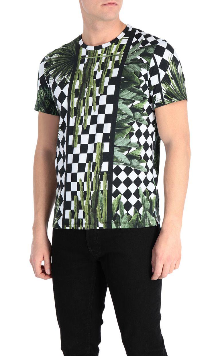 JUST CAVALLI T-shirt with garden-check print Short sleeve t-shirt Man f