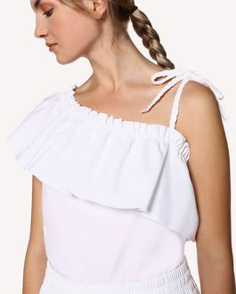 REDValentino Cotton Poplin top with braid detail