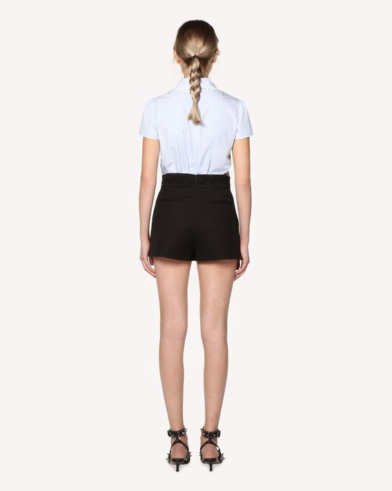 REDValentino Striped cotton poplin top with rounded collar and bow