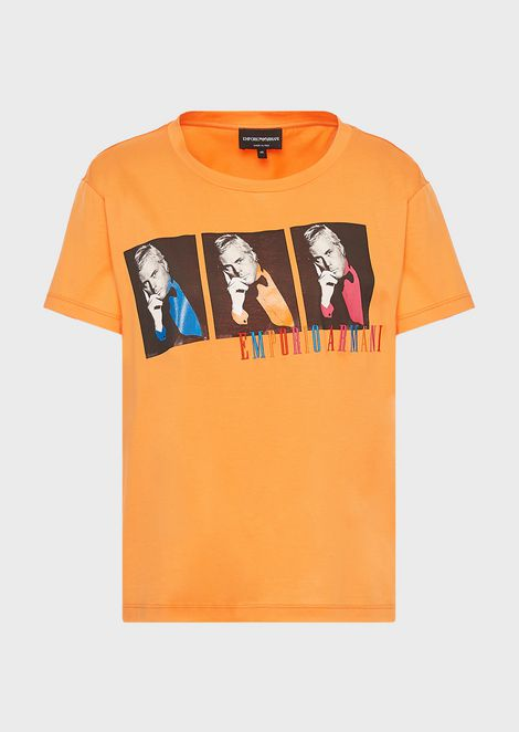 T-shirt with Giorgio Armani photograph in pop style