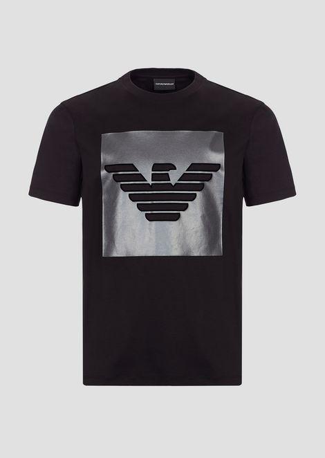 Cotton interlock jersey T-shirt with logo print