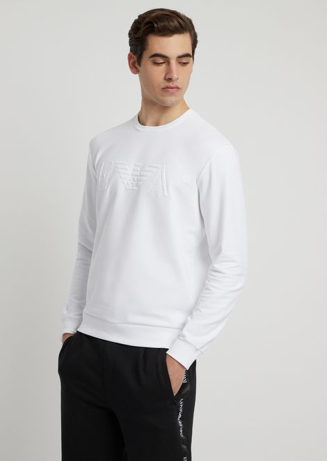Stretch cotton sweatshirt with embossed logo