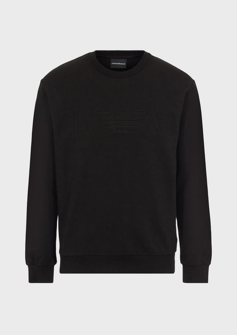 Stretch cotton sweatshirt with embossed logo