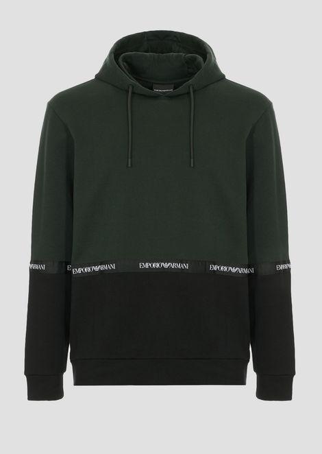 Two-tone cotton fleece sweatshirt with hood and logo band