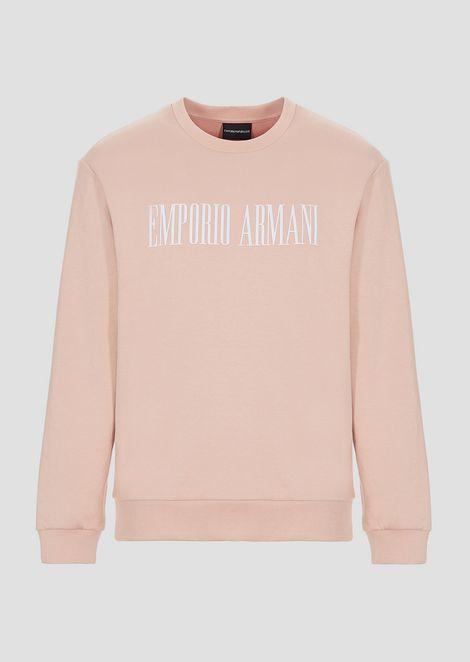 Crew-neck cotton fleece sweatshirt with logo print