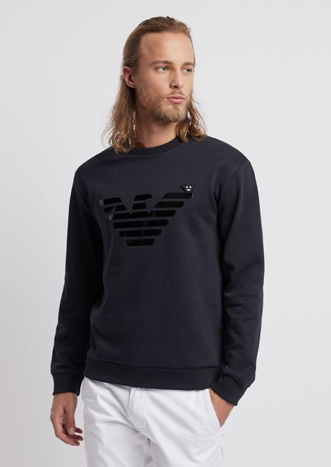 Cotton fleece sweatshirt with logo print and emoji patch