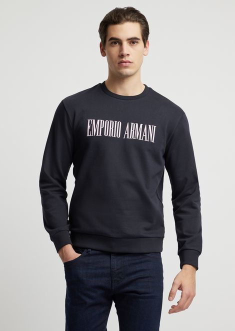 Crew-neck cotton fleece sweatshirt with logo print