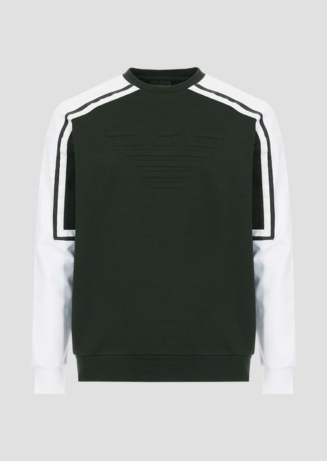 Sweatshirt in stretch viscose interlock with embossed logo