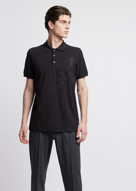 Cotton piqué polo shirt with embroidery