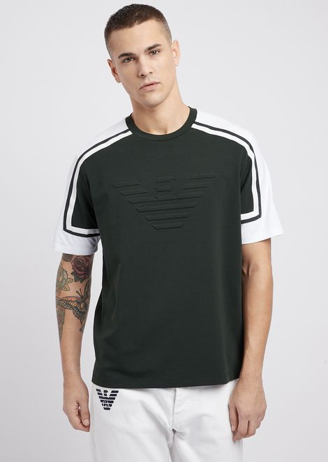 Two-colour stretch cotton jersey T-shirt with embossed logo