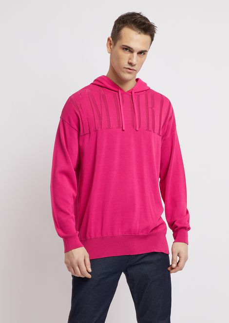 Hooded vanisé knit sweatshirt with logo print
