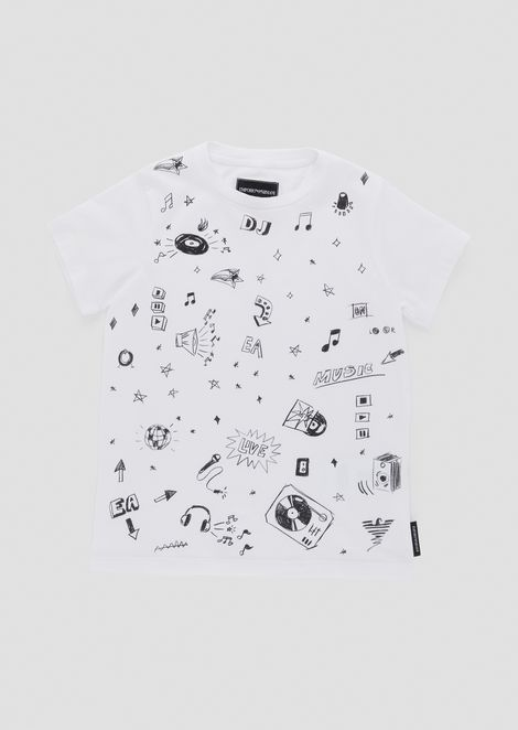 Stretch jersey T-shirt with DJ pattern