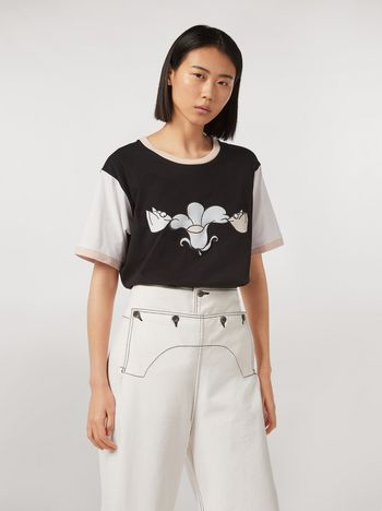 Marni Jersey T-shirt print by Bruno Bozzetto with contrast sleeves black Woman f