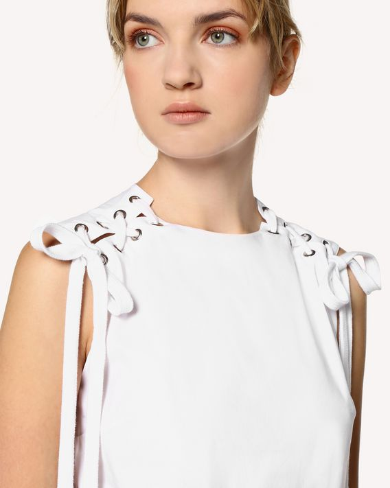 REDValentino Lacing detail Cotton poplin top