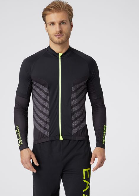 Cycling sweater in two-way stretch jersey with removable sleeves