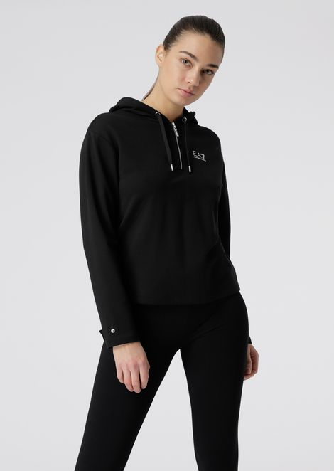 Sweatshirt with hood and drawstring on the back