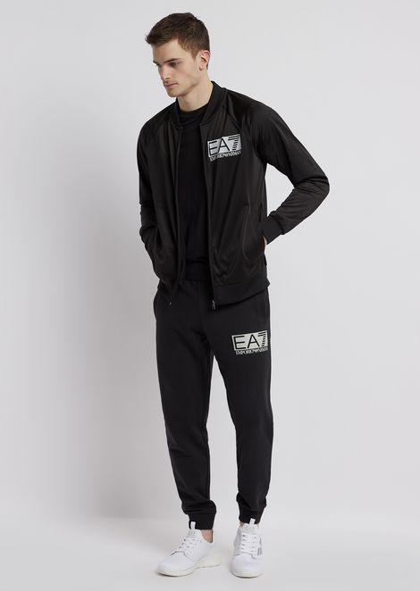 Sweatshirt with zipper in shiny fabric with EA7 logo