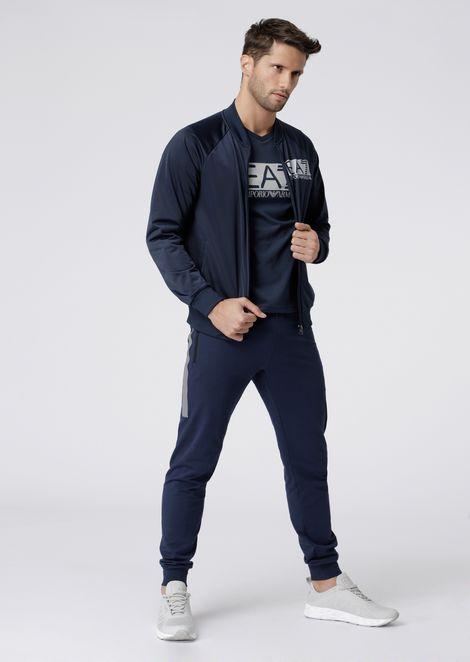 Sweatshirt with zipper in shiny fabric with EA7 logo