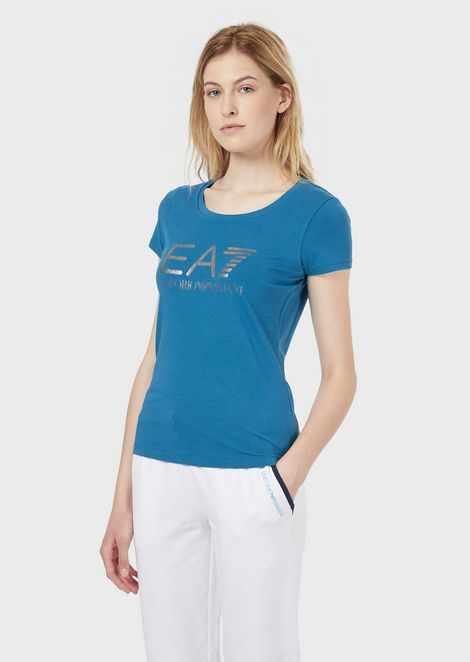 Stretch jersey T-shirt with metallic logo