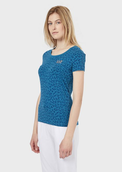 Stretch jersey T-shirt in animal-print pattern