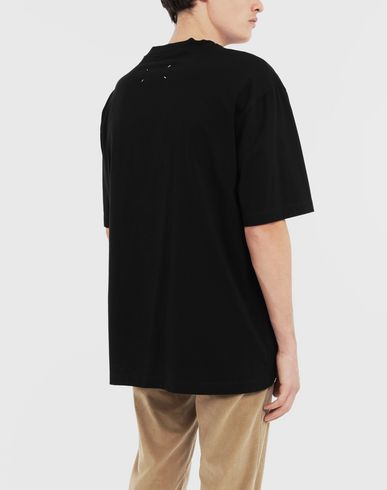 TOPS Logo destroyed tab T-shirt Black