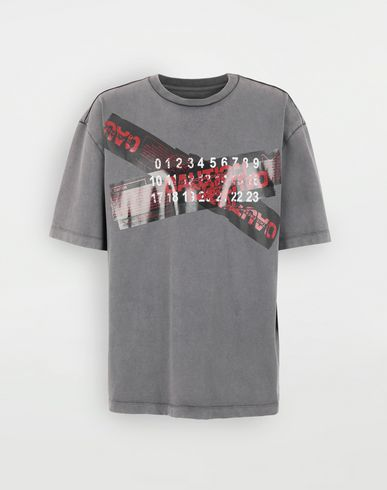 TOPS & TEES 'Caution' T-shirt  Grey
