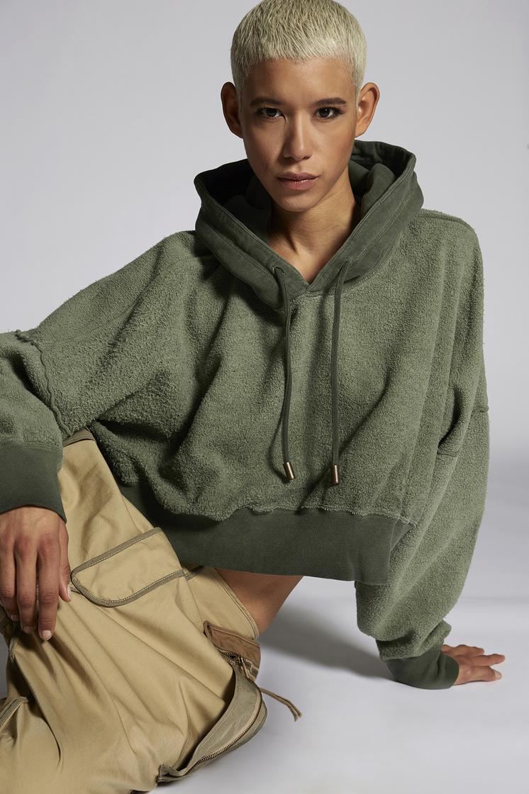 DSQUARED2 Brushed Cotton Fleece Cropped Hooded Sweatshirt Sweatshirt Woman