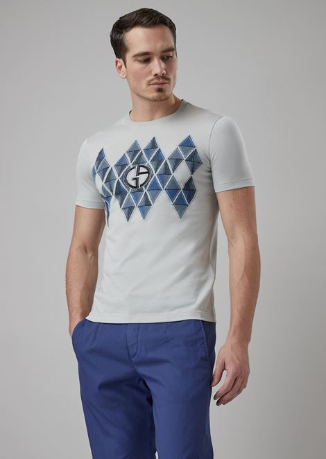 T-shirt with geometric motif and fil coupé logo