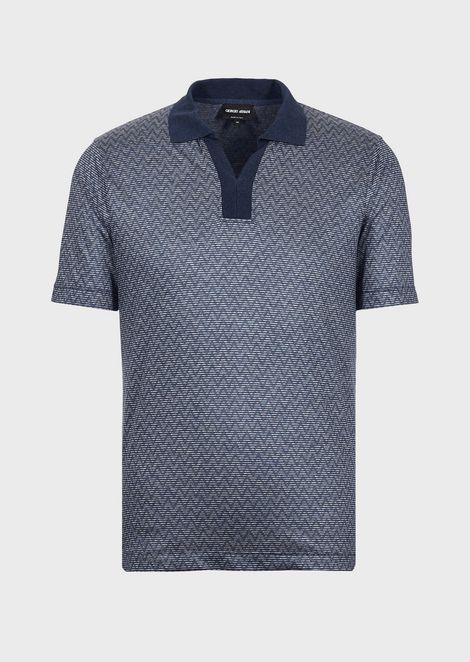 Polo shirt in jacquard jersey with chevron design