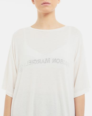 TOPS & TEES Inside out logo T-shirt Ivory