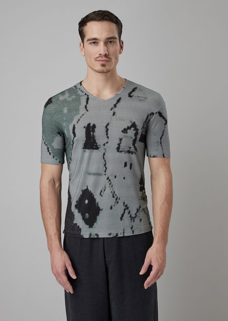 Stretch viscose jersey T-shirt with all-over print