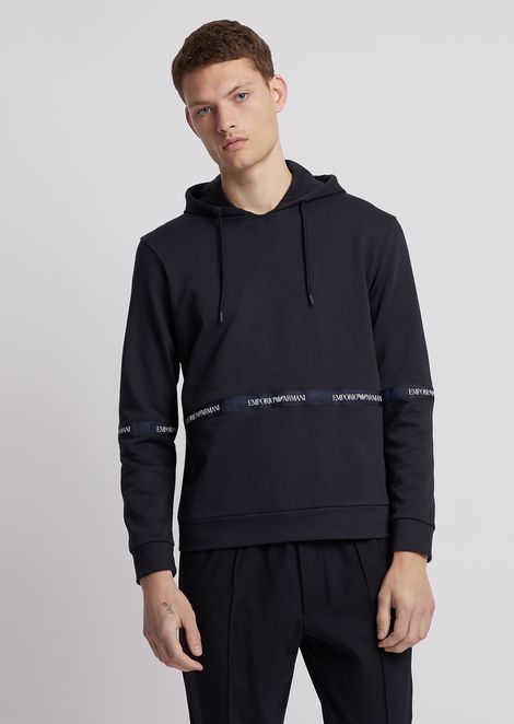 Two-colour cotton fleece sweatshirt with hood and logo band