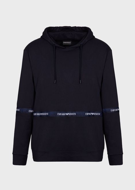 Two-tone cotton fleece sweatshirt with hood and logo band