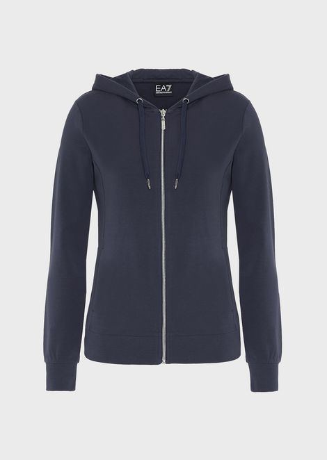 Full-zip, stretch cotton sweatshirt with hood