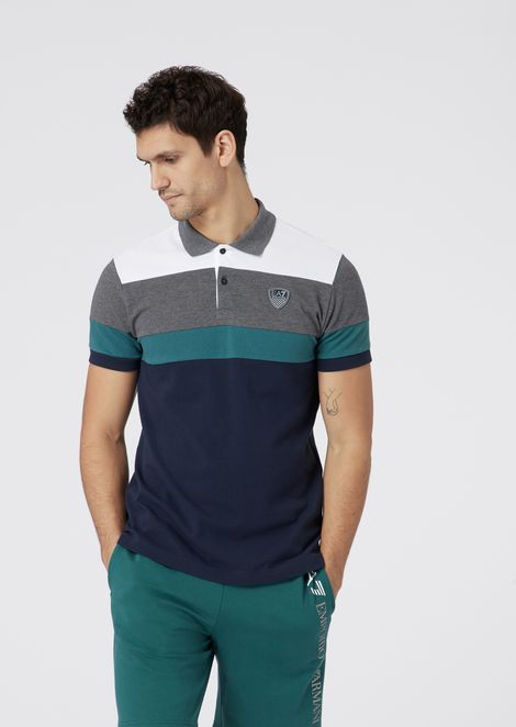 Polo in multicolor cotton piqué