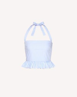 REDValentino Striped cotton poplin cropped top