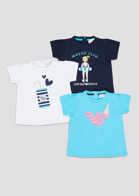 Set of three t-shirts in soft jersey with summer print