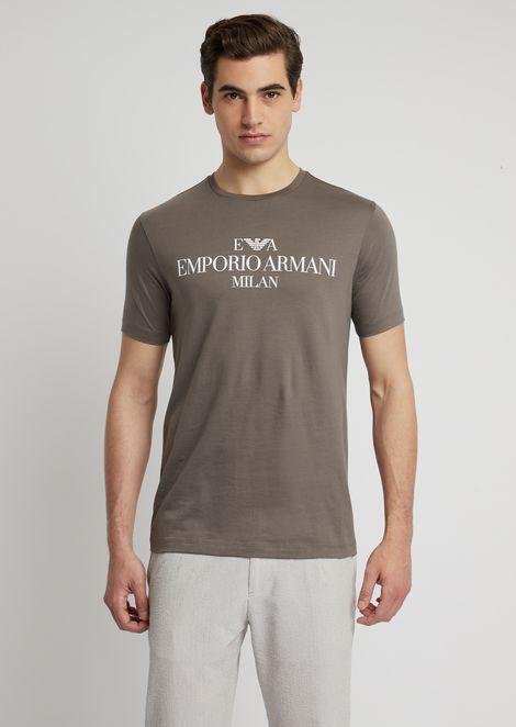 Slim-fit pima cotton T-shirt with logo print