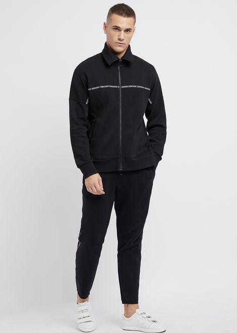 Sweatshirt in double scuba fabric with logoed band