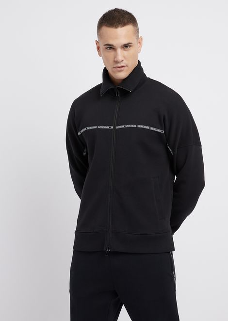 Sweatshirt in double scuba fabric with logoed band