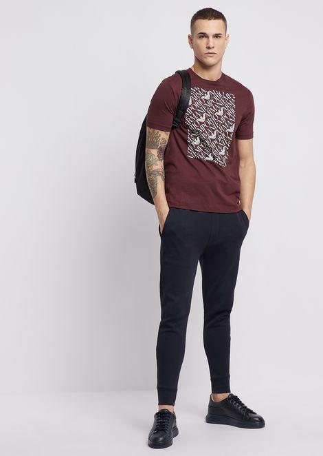 Pima cotton jersey T-shirt with logo print