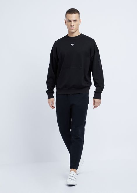 Cotton interlock sweatshirt with Emporio Armani logo