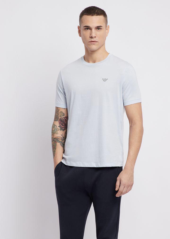 Pima cotton jersey T-shirt with logo detail