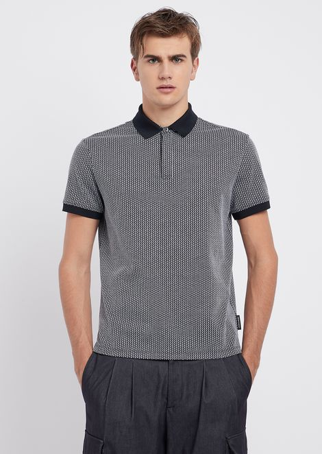 Polo shirt in cotton jersey with jacquard motif