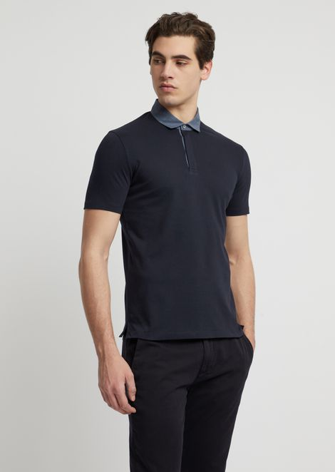 b946511cf816f Polo shirt in stretch cotton piqué with chambray collar