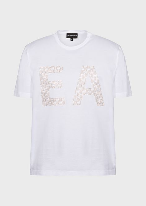 Pima cotton jersey T-shirt with logo print